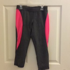 Hot pink and gray spandex running capris